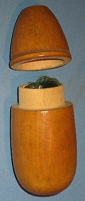 "Vintage Treen Ware Lift Top Cylindrical Thread Holder 4""h"