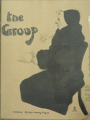 "Rare 1954 Signed David Levine Lithomat Poster For Private Exhibition ""The Group"""