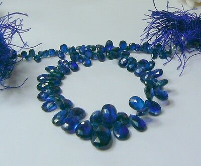 FACETED KYANITE BRIOLETTE TEARDROP BEADS STRAND 91.85ctw NATURAL DEEP ROYAL BLUE