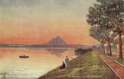 Carte Postale Illustrateur Tuck Egypte On The Way To The Pyramids