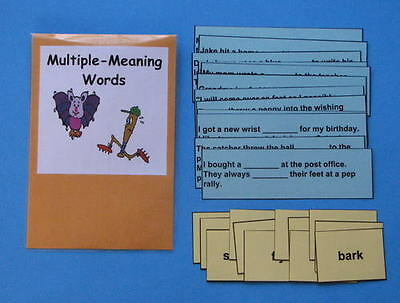 Teacher Made Literacy Center Resource Game Multiple-Meaning Word Strips