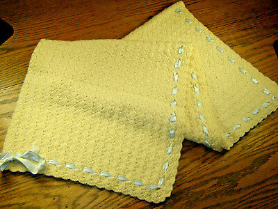 VINTAGE HAND CROCHETED Shell Stitch Baby Blanket w/ Blue Fabric Ribbon Trim