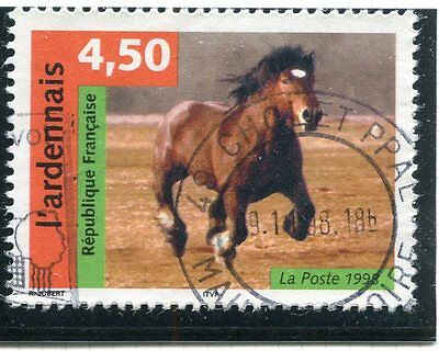 Timbre France Oblitere N 3185  Faune Cheval L'ardennais /