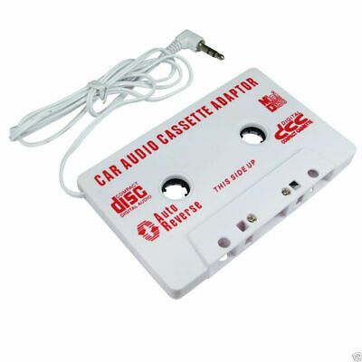 Car Audio Adapter Play IPOD MP3 CD Mobile Phone Through Cassette White [006476]