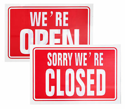 We're Open / Closed -Shop / Restaurant Opening Door Sign - Red