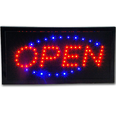 Slim Animated LED Neon Light Open Sign Bright Store Business Display Blue Red
