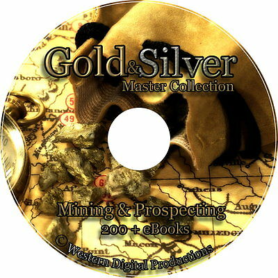 DVD 200+ Gold Silver Mining Books Maps Tools Guides Sluicing Panning Prospecting