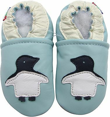 carozoo penguin light blue 6-12m soft sole leather baby shoes