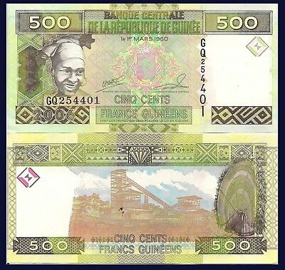 Guinea P39, 500 Francs, girl in scarf, drum / diamond mining $3+CVgreat security