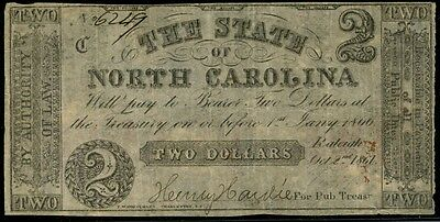 NC-4c CONF. NOTE $2.00 10-2-1861 STATE OF NO. CAROLINA, XF-AU BP7924