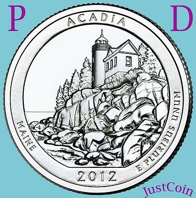 2012 P&D Set Acadia National Park (Maine) Atb Quarters From Unc Mint Roll