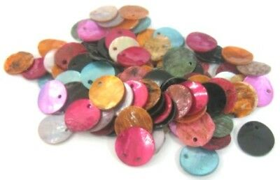 LOT de 60 PERLES rondes plates SEQUINS NACRE NATUREL 13mm MULTICOLORES bijoux