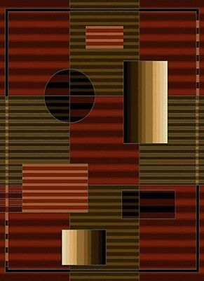 "stripe RED burgundy MODERN runner 2x8 ABSTRACT area RUG : Actual 1' 11"" x 7' 2"""
