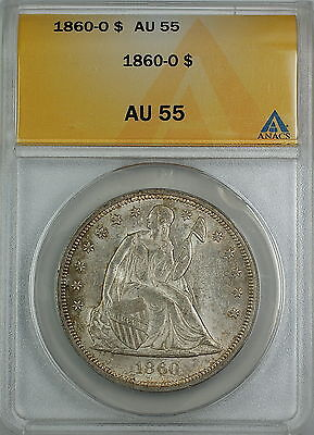 1860-O Seated Liberty Silver Dollar, ANACS AU-55, Beautiful Original Luster, AKR