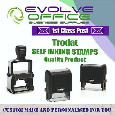 Personalised Custom Made Bespoke Name & Address Logo's Self Inking Rubber Stamp