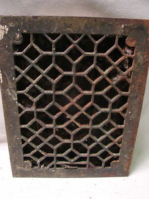 Antique Late 1800's Cast Iron Heating Grate Unique Ornate Design 13.75 X 10.75 E