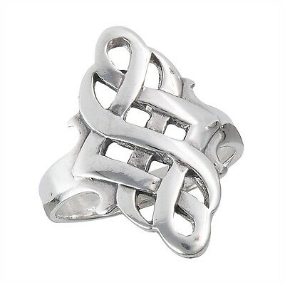 Wide Sterling Silver Celtic Knot Ring Size 6-10