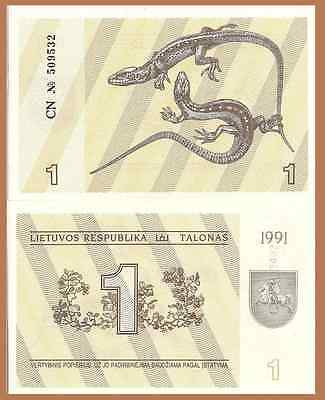 Lithuania P32a, 1 Talonas, lizards / mounted knights, 1991, uncirculated, $3 CV