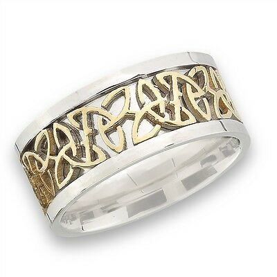 Stainless Steel Celtic Knot Ring w Gold Tone Size 7-18
