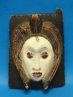 "RARE ANTIQUE AFRICAN WALL MASK PLAQUE ~ 13"" x 10"""