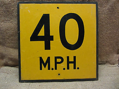 Vintage Wooden 40 mph Speed Limit Street Sign > Old Antique Signs Goverment 7620