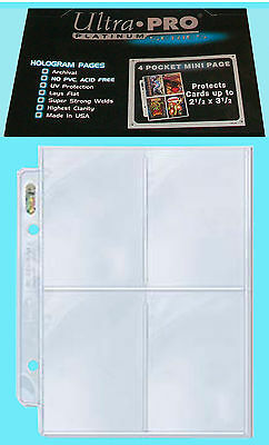 "25 ULTRA PRO PLATINUM 4 POCKET MINI pages 2.5""x3.5"" team set sports card 214D"