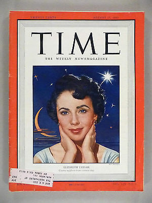 Time Magazine - August 22, 1949 -- Elizabeth Taylor cover/article
