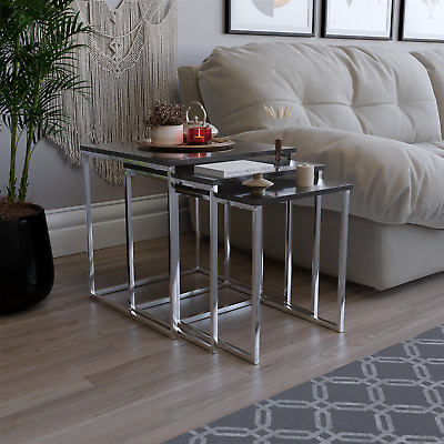 Aztec Nest of Tables in Black Gloss & Chrome - BRAND NEW - FREE DELIVERY
