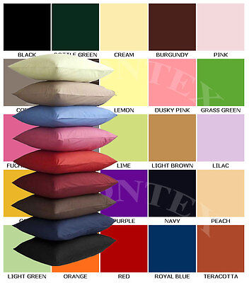 Single & Pair Of Plain Dyed Standard Pillow case/cover - In 20 Colours