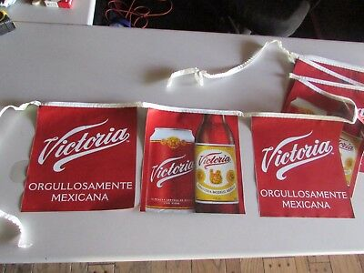 NEW Victoria Orgullo Samente Mexicana Beer String Banner Mexico Flags Red Bottle