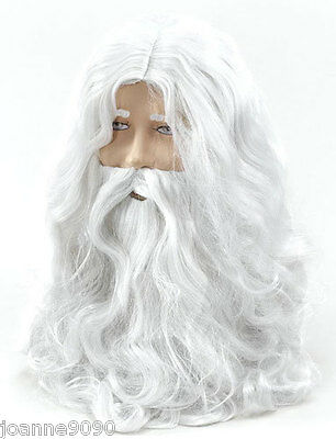 Deluxe Bad Santa Fancy Dress Costume Grey Wizard Wig Beard Christmas Halloween