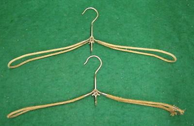 Pair of Vintage Wire  Folding Coat Clothes  Hangers With Hook Steampunk 1286-13