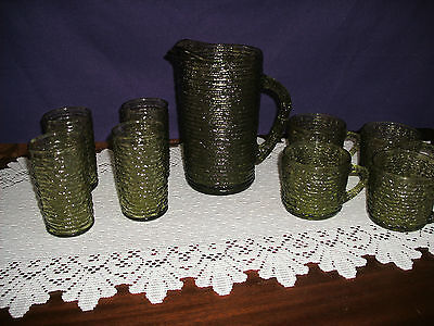 """Fireking Green Sereno 6 3/4"""" Pitcher And Four 4"""" Juice Glasses And 4 Coffee Mugs"""