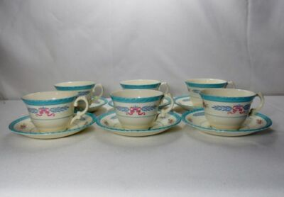 Crown Ducal Cambridge Set of 6 Cups and Saucers (Various Degrees of Crazing)