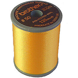 Brother satin finish embroidery thread. 300m spool HARVEST GOLD 206