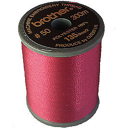 Brother satin finish embroidery thread. 300m spool VERMILION 030