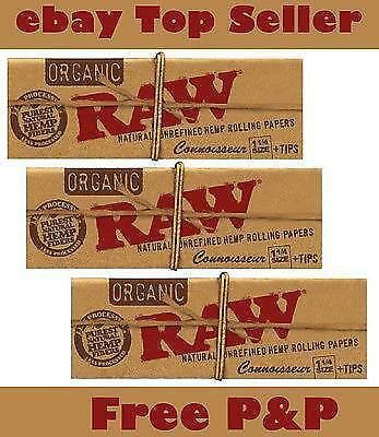 RAW Organic Connoisseur 1 1/4 size Paper+Tips Natural Unrefined Hemp RollingPapr