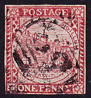 NEW SOUTH WALES #2c USED 3 FULL MGNS TOUCHING at BTM RIGHT, 1850, CV$750 - DO86