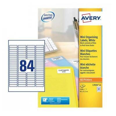 AVERY L7656-25 Labels 84 per A4 page - Pack of 2100 - 46 x 11.1 mm Eco Friendly