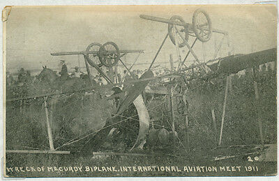 Mccurdy Wreck At Int'l Air Meet, Chicago 1911 On Pioneer Flight Postcard Bp8287