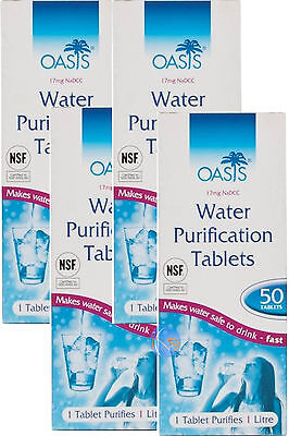OASIS WATER PURIFICATION TABLETS 17mg - 50 Pack - British Army NATO Issue Travel