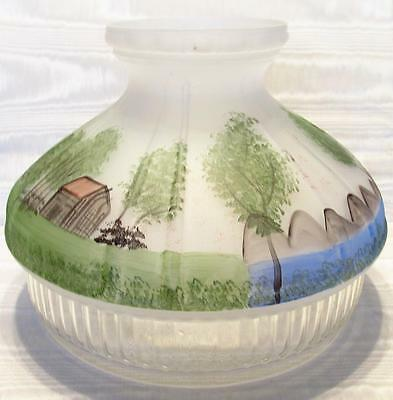 "10"" GLASS ALADDIN LOG CABIN hand painted SHADE for old oil lamp"