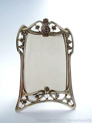 EXCLUSIVE floral ART NOUVEAU antique 800 SILVER mirror VANITY blossom VELVET