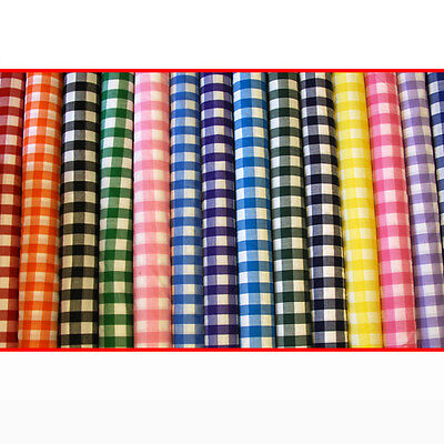 "Gingham Checked Polycotton Fabric Uniform Dress 1 Inch Check 114cm / 45"" Wide"