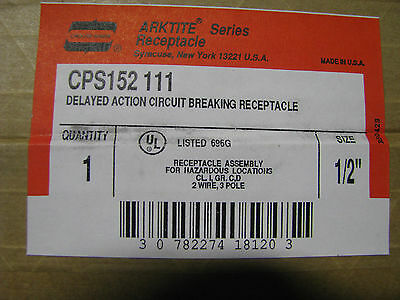 Crouse-Hinds Arktite Receptacle Circuit Breakin  Cps152-111 Nsn 5935-00-754-8797