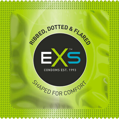 24 EXS RIBBED, DOTTED & FLARED RIBS & DOTS Extreme Condoms - Free Fast UK Post