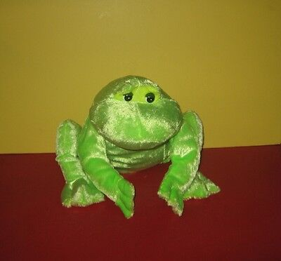 "Chubby 12"" Lime Green Shimmer Look Frog Stuffed Plush"
