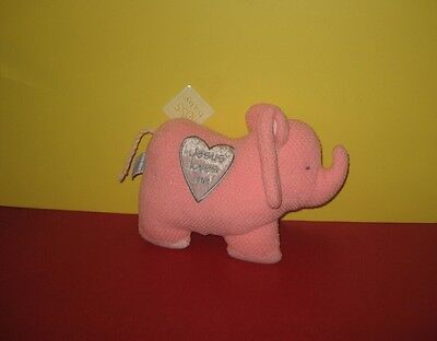 "New 10"" Russ Baby Notes From Noah Pink Elephant ""Jesus Loves me"" Stuffed Plush"