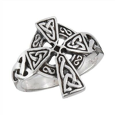 Sterling Silver Jewelry 925 Classic CELTIC CROSS Ring Size 6-10