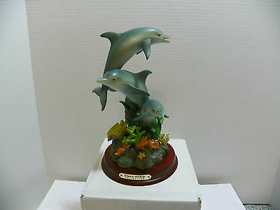 Dolphins on Reef Classic Wildlife Collection - Figurine on Wood Base